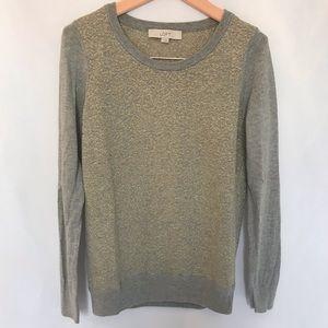 Loft Grey and Gold Metallic Sweater